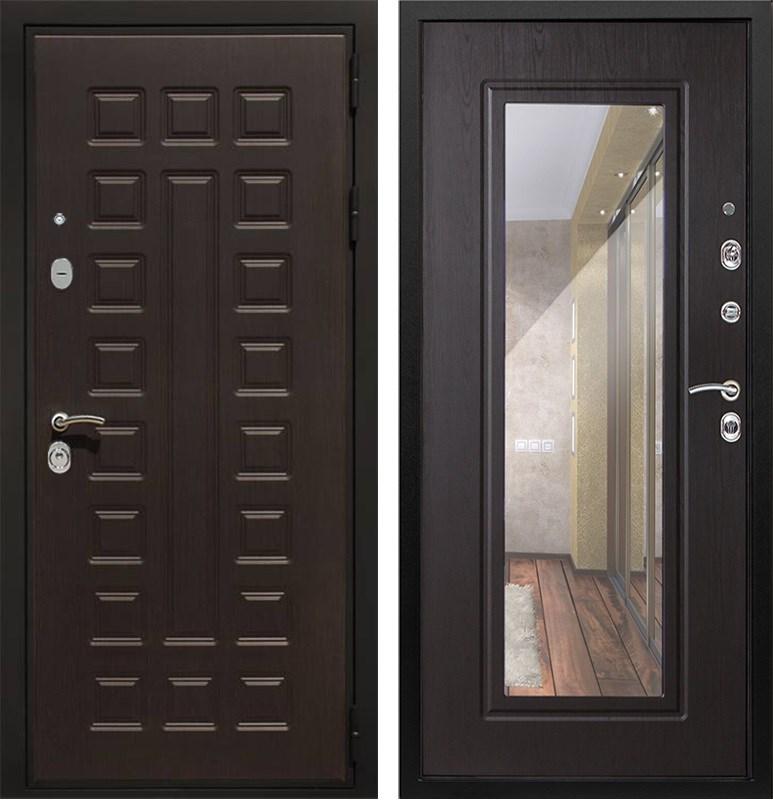 Входная металлическая дверь Сенатор Престиж с зеркалом (Венге / Венге)