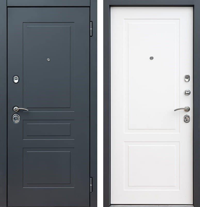 Входная металлическая дверь Снедо Лорд 2К (Шагрень графит / Белый матовый)