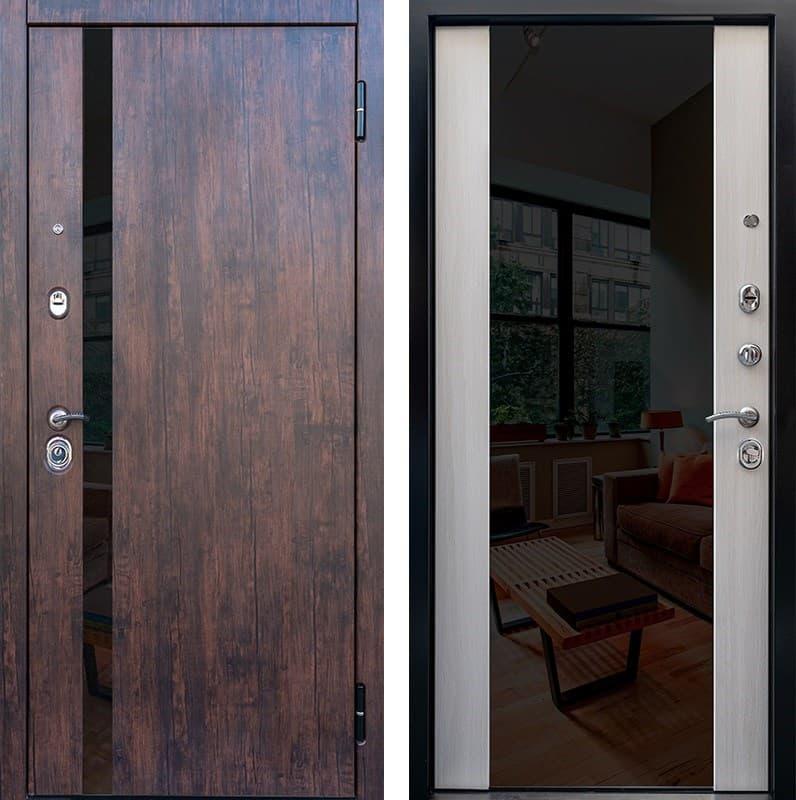 Входная металлическая дверь Снедо Премьер 2К Зеркало (Тиковое дерево / Белая лиственница)