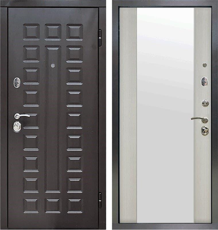 Входная металлическая дверь Снедо Сенатор 2К Зеркало (Венге / Белая лиственница)