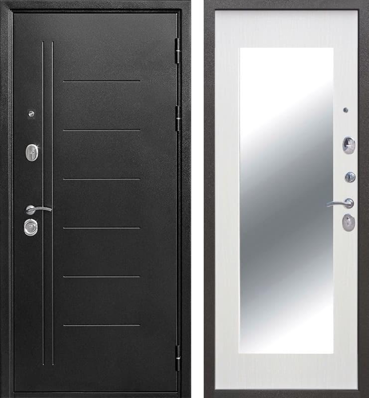 Входная металлическая дверь Троя Зеркало Maxi (Антик Серебро / Ясень белый)