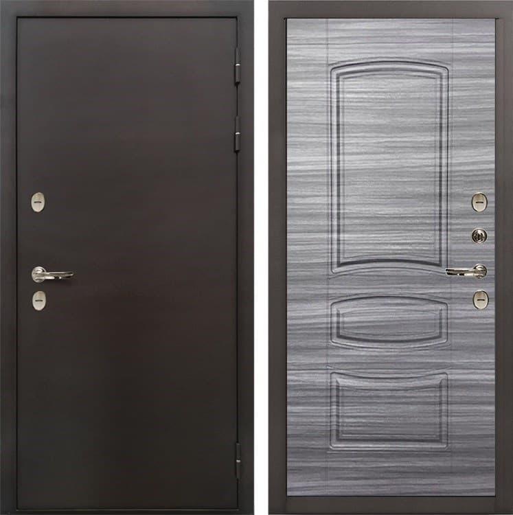 Входная металлическая дверь с терморазрывом Лекс Термо Сибирь 3К Сандал серый (панель №69)