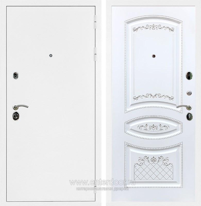 Входная металлическая дверь 5А ФЛ-316 (Белая шагрень / Белый патина Серебро)