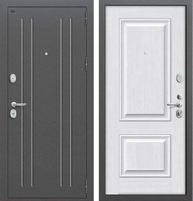 Входная металлическая дверь Groff Т2-232 (Серебро антик / Milk Oak)