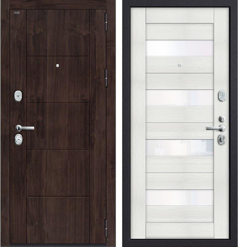 Входная металлическая дверь Groff Т3-223 (Темная Вишня / Bianco Veralinga)