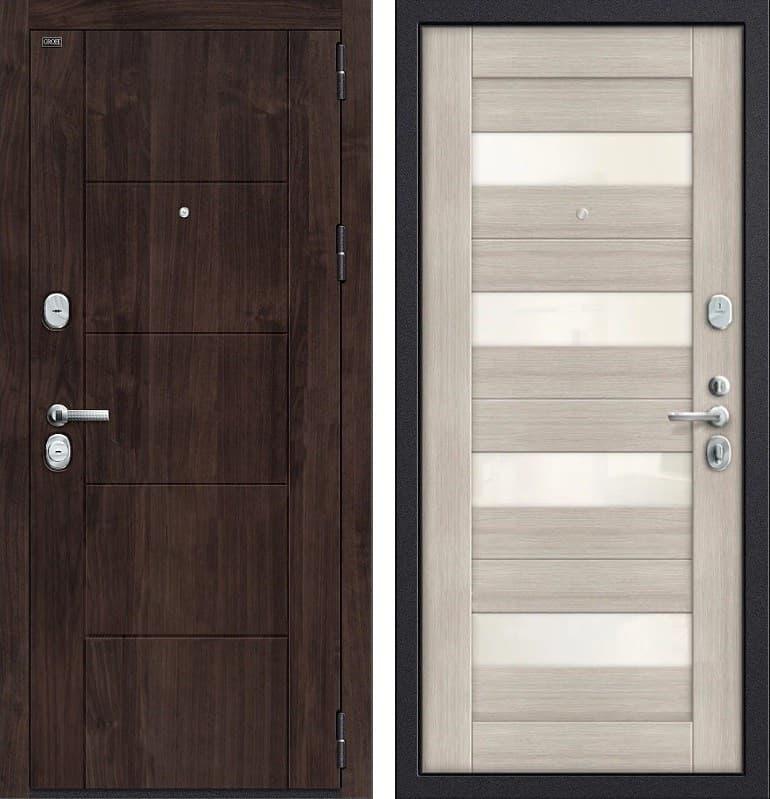 Входная металлическая дверь Groff Т3-223 (Темная Вишня / Cappuccino Veralinga)