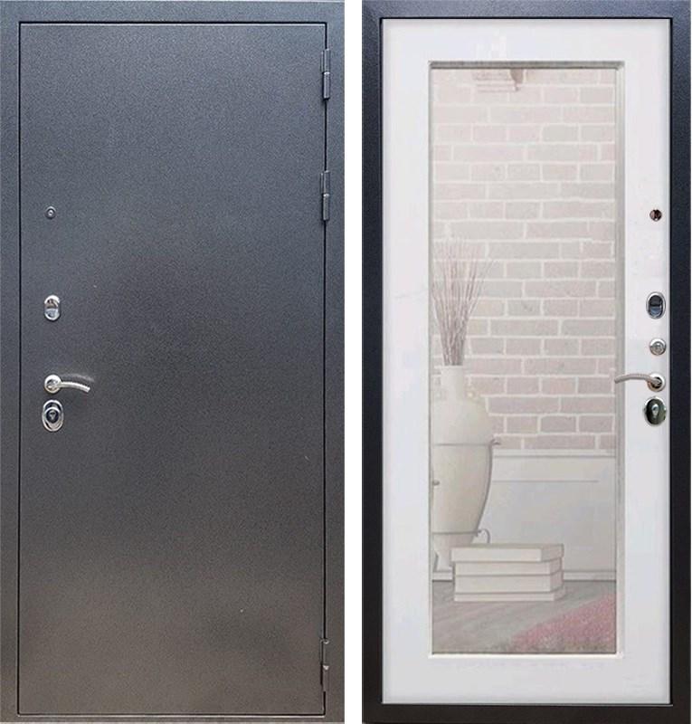 Входная стальная дверь Армада 11 с Зеркалом Пастораль (Антик серебро / Белый ясень)