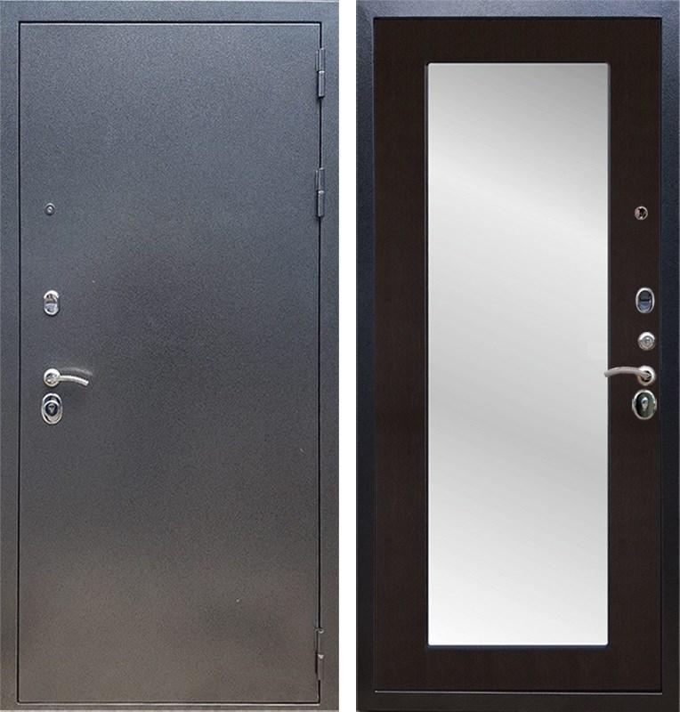 Входная стальная дверь Армада 11 с Зеркалом Пастораль (Антик серебро / Венге)