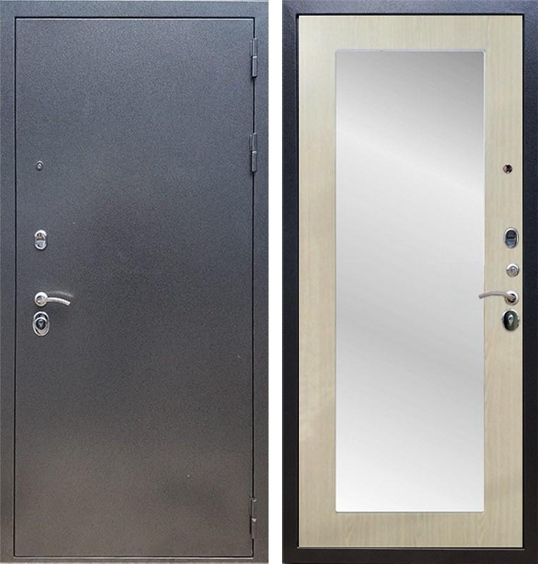 Входная стальная дверь Армада 11 с Зеркалом Пастораль (Антик серебро / Дуб белёный)