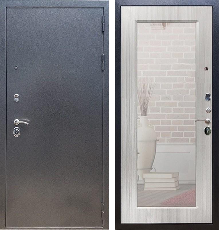 Входная стальная дверь Армада 11 с Зеркалом Пастораль (Антик серебро / Сандал белый)