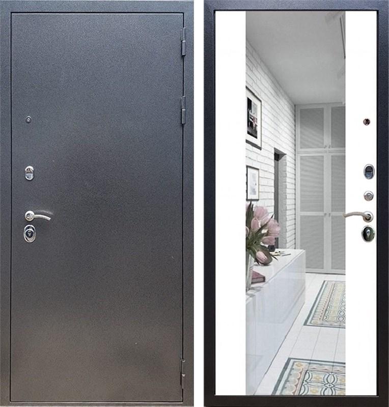 Входная стальная дверь Армада 11 с Зеркалом СБ-16 (Антик серебро / Белый матовый)
