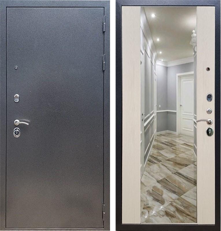 Входная стальная дверь Армада 11 с Зеркалом СБ-16 (Антик серебро / Лиственница беж)
