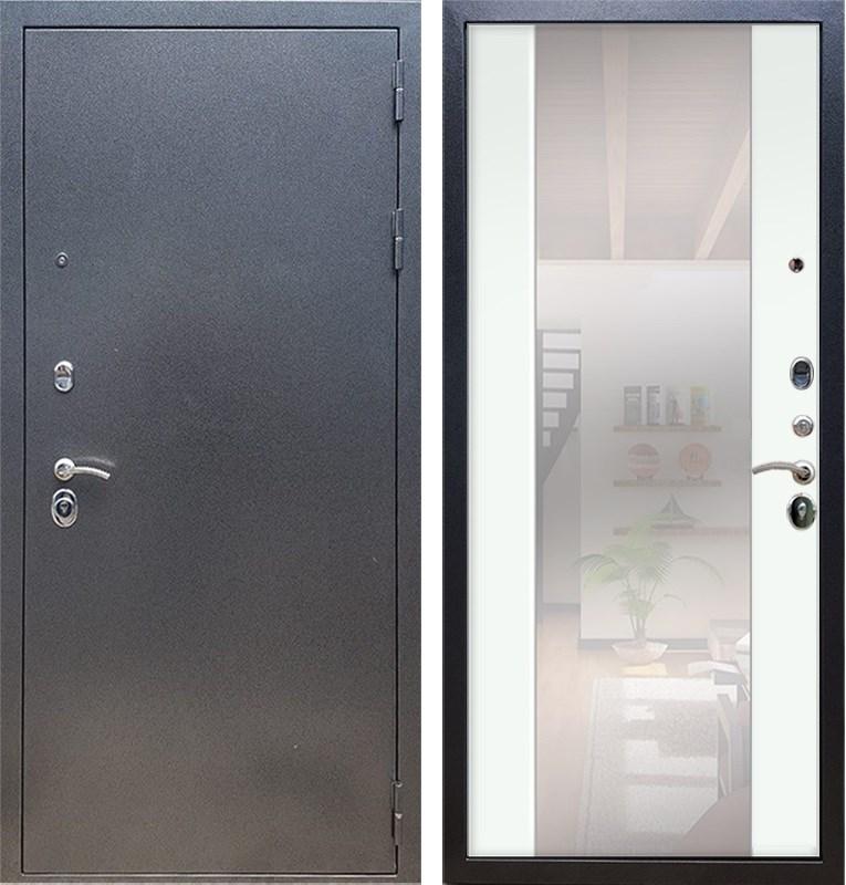 Входная стальная дверь Армада 11 с Зеркалом СБ-16 (Антик серебро / Ясень белый)