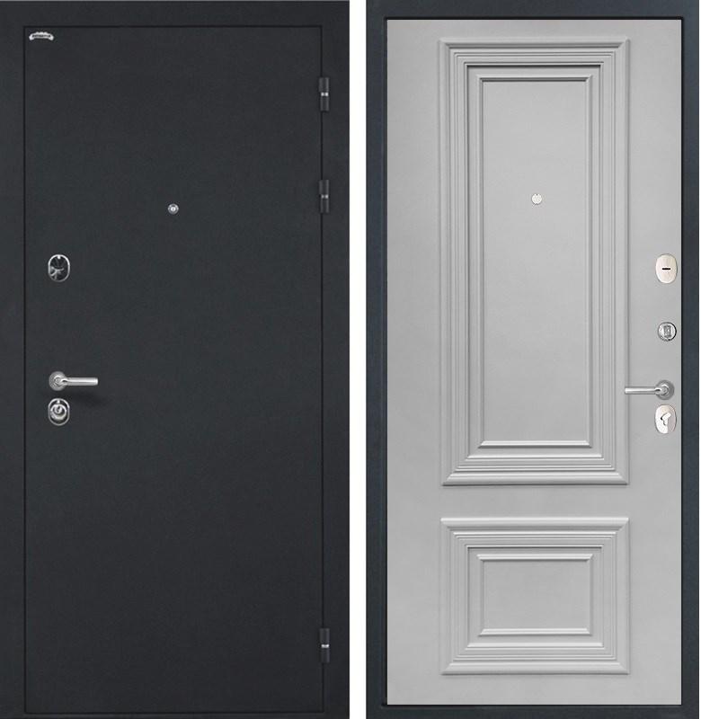 Входная стальная дверь Интекрон Греция Сан Ремо 1 (Чёрный шелк / Светло-серый RAL 7047)