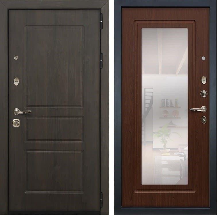 Входная стальная дверь Лекс Сенатор Винорит с Зеркалом Берёза мореная (панель №30)