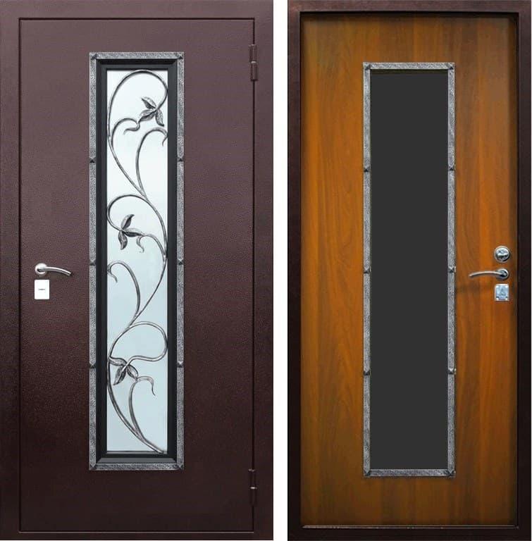 Входная уличная дверь Лоза-1 с окном и ковкой (Антик медный / Итальянский орех)