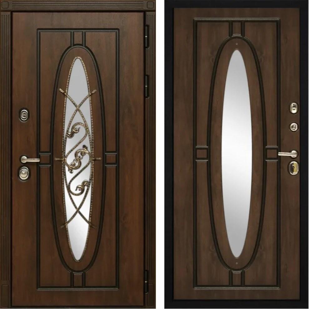 Входная уличная дверь Монарх с окном и ковкой (Дуб темный / Дуб темный)