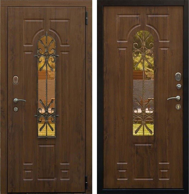 Входная уличная дверь Снедо Лацио 3К с окном и ковкой (Грецкий орех / Грецкий орех)