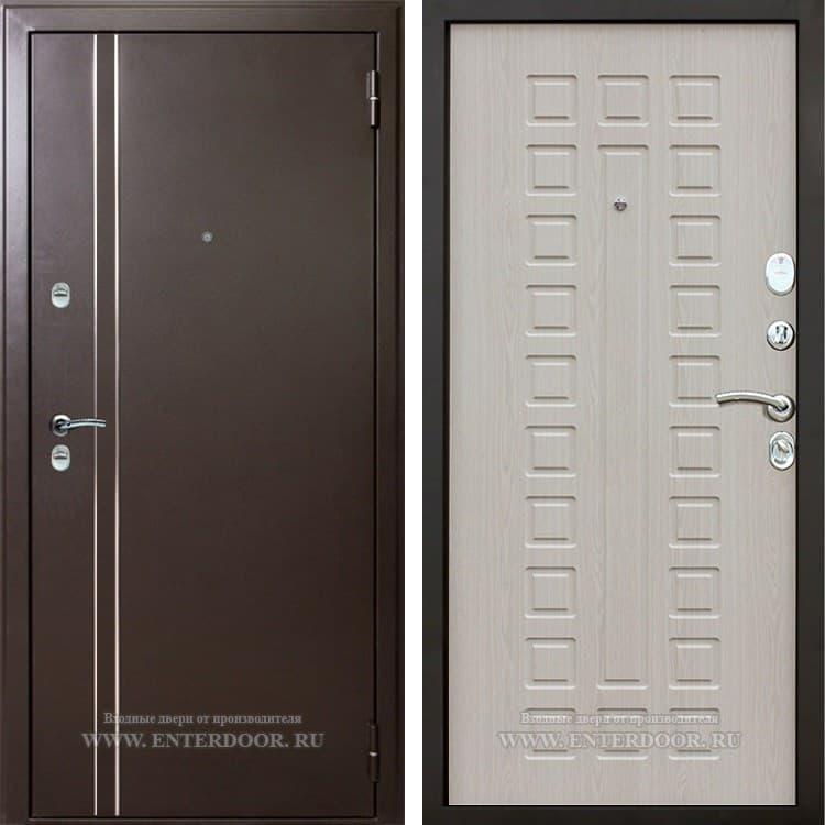 Входная уличная дверь с терморазрывом АСД 3К Арктика  (Муар коричневый / Дуб беленый)