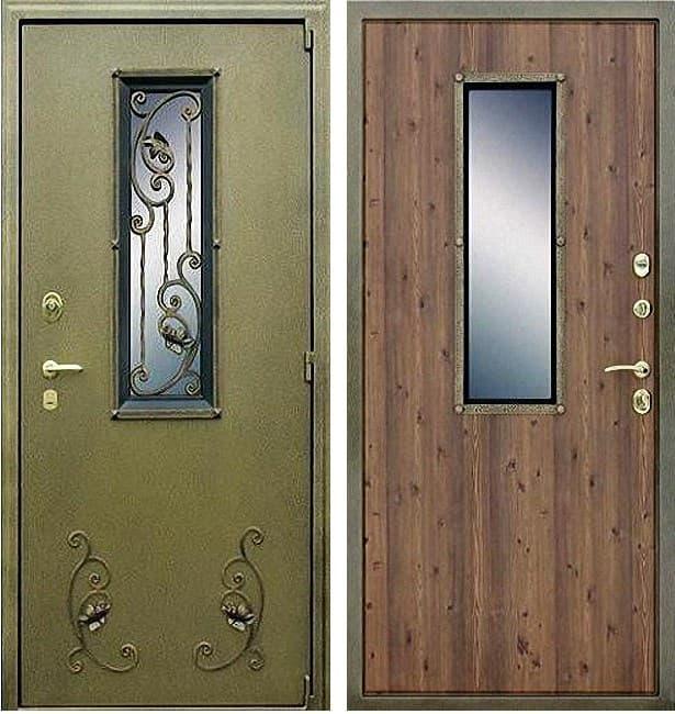 Входная уличная металлическая дверь АСД с окном и ковкой (Антик Золото / Дуб старый)
