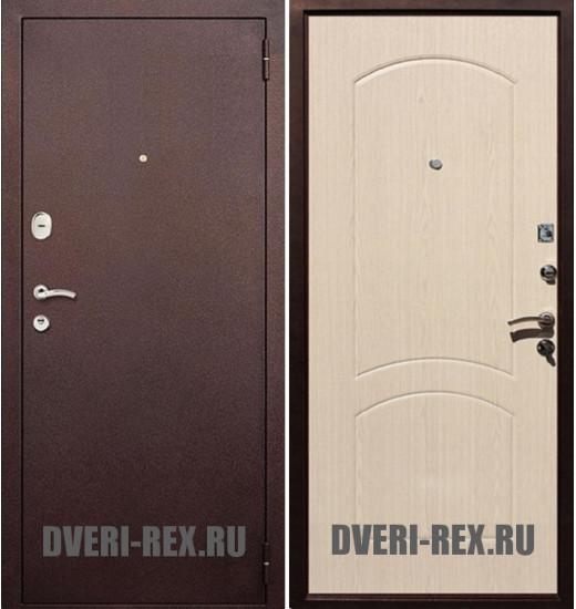 Стальная дверь Рекс 1А Антик медь / ФЛ-100 (Беленый дуб)