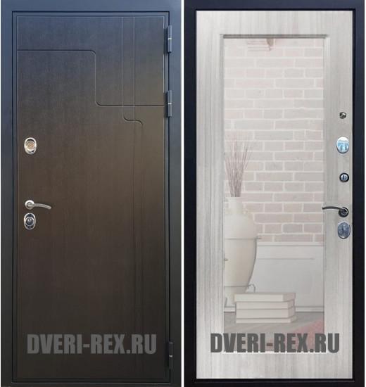 Стальная дверь Рекс Премиум 246 / Пастораль с зеркалом (Сандал белый)