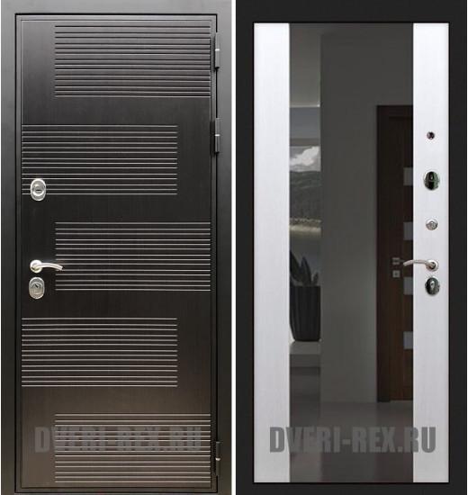 Стальная дверь Рекс Премиум 185 / СБ-16 с зеркалом (Белый ясень)