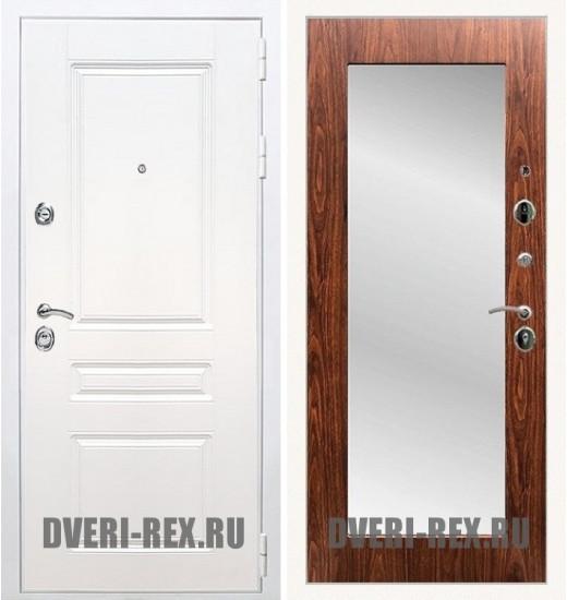Стальная дверь Рекс Премиум H (Силк сноу) / Пастораль с зеркалом (Береза мореная)