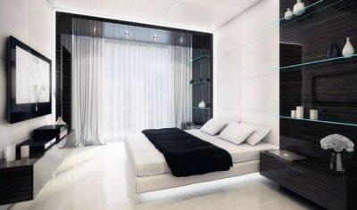 Черно-белое оформление кабинета и спальной комнаты